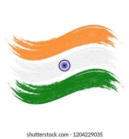 Grunge Brush Stroke With National Flag Of India Isolated On A White Background. Vector Illustration. Flag In Grungy Style. Use For Brochures, Printed Materials, Logos, Independence Day