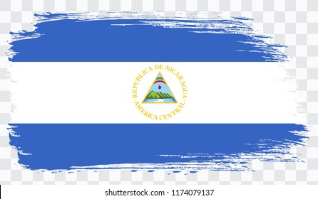 Grunge brush stroke with NICARAGUA national flag. Watercolor painting flag,poster, banner of the national flag. Style watercolor drawing. Vector isolated on transparent background