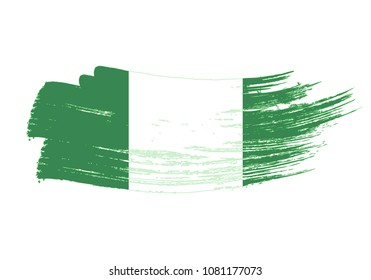 Grunge brush stroke with Nigeria national flag. Watercolor painting flag of Nigeria. Symbol, poster, banne of the national flag. Style watercolor drawing. Vector Isolated on white background.