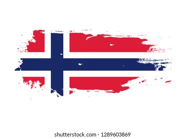 Grunge brush stroke with Norway national flag. Watercolor painting flag. Symbol, poster, banner. Vector Isolated on white background.