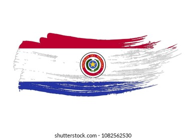Grunge brush stroke with Paraguay national flag. Watercolor painting flag of Paraguay. Symbol, poster, banne of the national flag. Style watercolor drawing. Vector Isolated on white background.