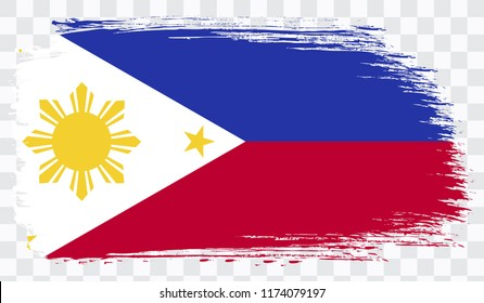 Grunge brush stroke with PHILIPPINES national flag. Watercolor painting flag,poster, banner of the national flag. Style watercolor drawing. Vector isolated on transparent background