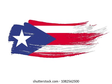 Grunge brush stroke with Puerto Rico national flag. Watercolor painting flag of Puerto Rico. Symbol, poster, banne of the national flag. Style watercolor drawing. Vector Isolated on white background.