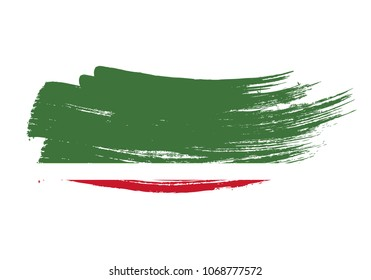 Grunge brush stroke with Republic of Chechen national flag. Watercolor painting flag of Republic of Chechen. Symbol, poster, banne of the national flag. Style watercolor drawing. Vector Isolated