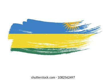 Grunge brush stroke with Rwanda national flag. Watercolor painting flag of Rwanda. Symbol, poster, banne of the national flag. Style watercolor drawing. Vector Isolated on white background.
