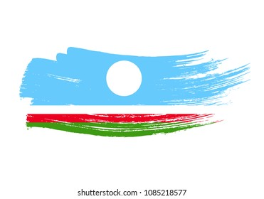 Grunge brush stroke with Sakha Republic national flag. Watercolor painting flag of Sakha Republic. Symbol, poster, banne of the national flag. Style watercolor drawing. Vector Isolated on white