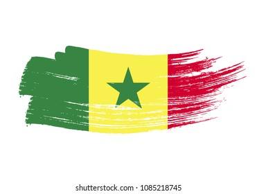 Grunge brush stroke with senegal national flag. Watercolor painting flag of senegal. Symbol, poster, banne of the national flag. Style watercolor drawing. Vector Isolated on white background.