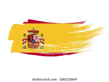 Grunge brush stroke with Spain national flag. Watercolor painting flag of Spain. Symbol, poster, banne of the national flag. Style watercolor drawing. Vector Isolated on white background.