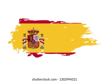 Grunge brush stroke with Spain national flag. Watercolor painting flag. Symbol, poster, banner. Vector Isolated on white background.