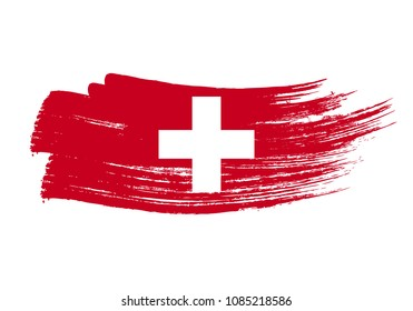Grunge brush stroke with Switzerland national flag. Watercolor painting flag of Switzerland. Symbol, poster, banne of the national flag. Style watercolor drawing. Vector Isolated on white background.