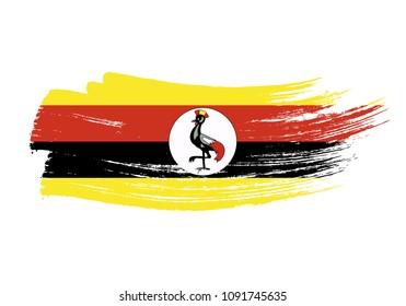 Grunge brush stroke with Uganda national flag. Watercolor painting flag of Uganda. Symbol, poster, banne of the national flag. Style watercolor drawing. Vector Isolated on white background.