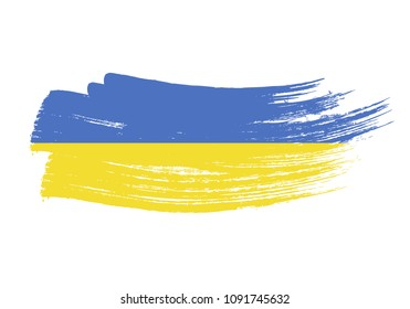 Grunge brush stroke with Ukraine national flag. Watercolor painting flag of Ukraine. Symbol, poster, banne of the national flag. Style watercolor drawing. Vector Isolated on white background.