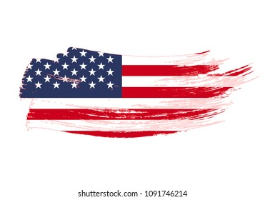 Grunge brush stroke with United States of America national flag. Watercolor painting flag of USA. Symbol, poster, banne of the national flag. Style watercolor drawing. Vector Isolated on white
