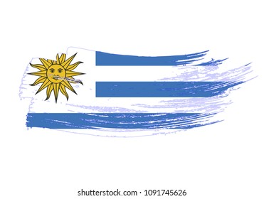 Grunge brush stroke with Uruguay national flag. Watercolor painting flag of Uruguay. Symbol, poster, banne of the national flag. Style watercolor drawing. Vector Isolated on white background.