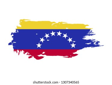 Grunge brush stroke with Venezuela national flag. Watercolor painting flag. Symbol, poster, banner. Vector Isolated on white background.