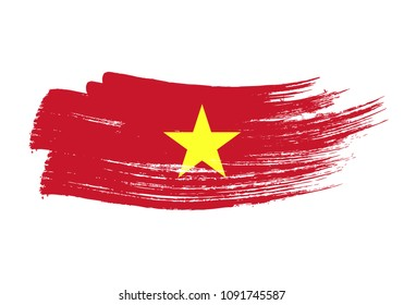 Grunge brush stroke with Vietnam national flag. Watercolor painting flag of Vietnam. Symbol, poster, banne of the national flag. Style watercolor drawing. Vector Isolated on white background.