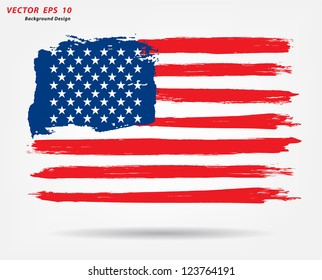 Grunge brush stroke watercolor of American flag, Vector illustration