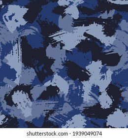 Grunge brush strokes  camouflage, modern fashion design. Paint camo military pattern. Army uniform. Blue sea shade color, fashionable, fabric. Vector seamless texture.