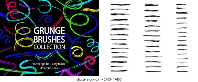 Grunge brushes collection. Pencil strokes set. Art brushes ready for use. Splatter. Grunge brushes. Pen strokes. Quirky scribble. Pencil effect grunge lines. Abstract vector. Scrawl. Scribbles.