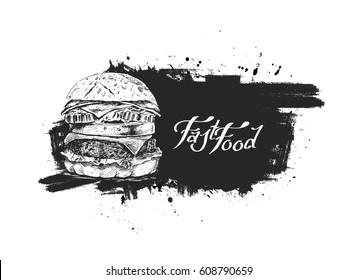Grunge Burger poster - fast food concept, Hand Drawn Sketch Vector illustration.