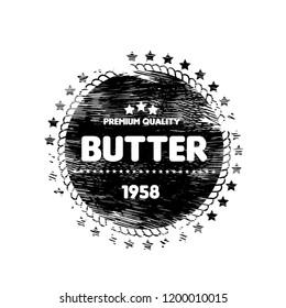 grunge butter vector logo badge. butter premium quality package label. vintage stamp