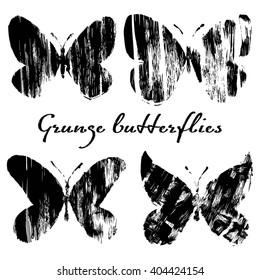 Grunge Butterflies Vector Set