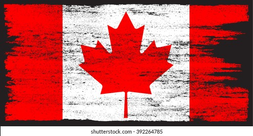 Grunge Canada flag.Vector Canadian flag.