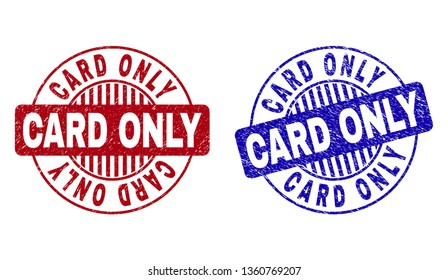 Grunge CARD ONLY round stamp seals isolated on a white background. Round seals with grunge texture in red and blue colors. Vector rubber watermark of CARD ONLY caption inside circle form with stripes.