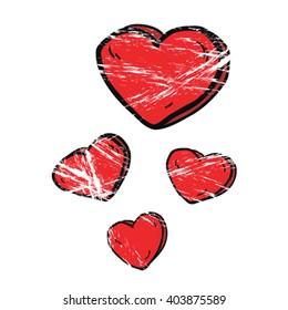 grunge cartoon illustration hearts