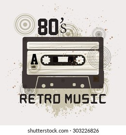Grunge Cassette Tape on grunge background / Retro music / 80's Party Flyer With Audio Cassette Tape for T-shirt, Poster, Banner, backdrops design