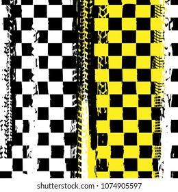 Grunge checkered racing background with tire imprints elements. Vector illustration in yellow, black and white colors. Automotive rallying concept in modern style.