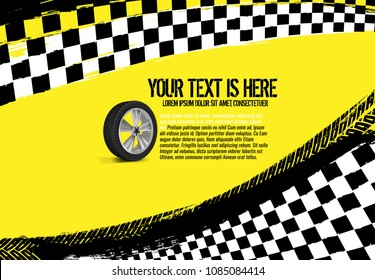 Grunge checkered racing background with tire imprints elements. Landscape vector illustration in yellow, black and white colors. Automotive rallying concept in modern style.