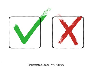 Grunge checkmarks in checkbox. Red and green. Vector clipart