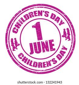 Grunge children's day rubber stamp, vector illustration