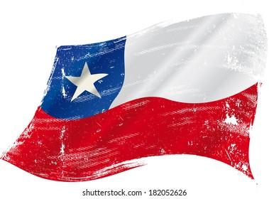 Una bandera chilena gruesa en el viento por ti