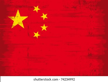 Grunge Chinese Flag A chinese flag with a texture for you