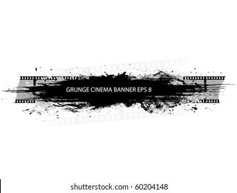 Grunge cinema banner with splash in black and white design