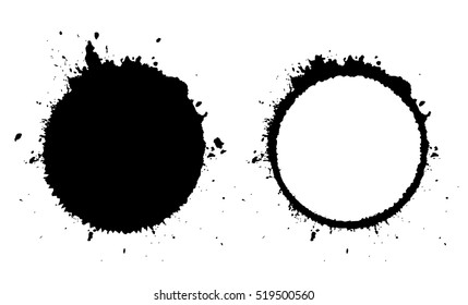 Grunge circle and blot icon vector on white background