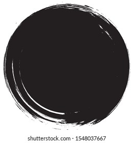 Grunge circle brush isolated on white background. Black paint grunge circle. Brush stroke vector. For round stamp, seal,label, ink and banner design. Round paint grunge circle.Hand drawn shape, vector