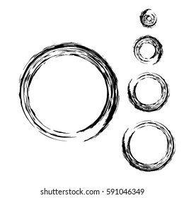 Grunge circle with brush. Set of black round brushes. Collection of vector graphics elements for your design