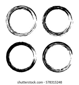 Grunge circle with brush. Set of round brushes. Collection of vector graphics elements for your design