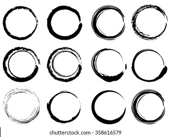 grunge circle brush strokes set