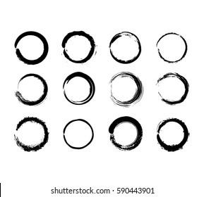 Grunge circles black on white background