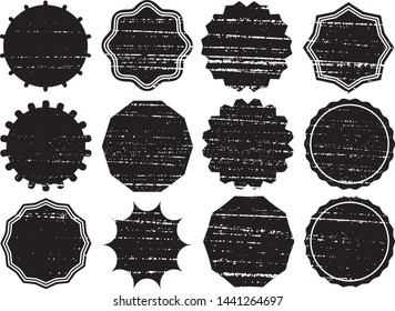 Grunge Circles Post Stamps Collection. Can be used as Round Banners, Insignias or Badges. Vector Distressed Textures Set. Blank Shapes. Vector Illustration. Black isolated on white. EPS10.