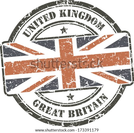 Grunge Circular Stamp With British Flag White Background