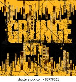 grunge city background design