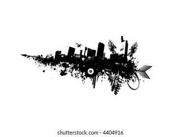 Grunge City mit Pfeil