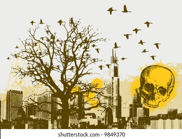 Grunge Cityscape Vector Background with Skull