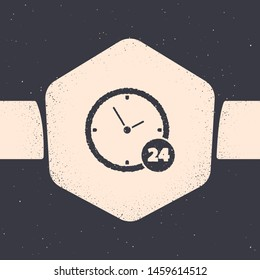 Grunge Clock 24 hours icon isolated on grey background. All day cyclic icon. 24 hours service symbol. Monochrome vintage drawing. Vector Illustration