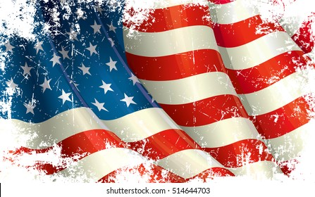 Grunge close Up illustration of a waving American Flag